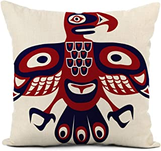 Adowyee Home Decor Linen Throw Pillow Cover 20x20 Inch Bird Native American Art Stylization Totem Vancouver Aztec Pole Tribal Ancient Animal Pillowcase Cushion Cover for Sofa Couch