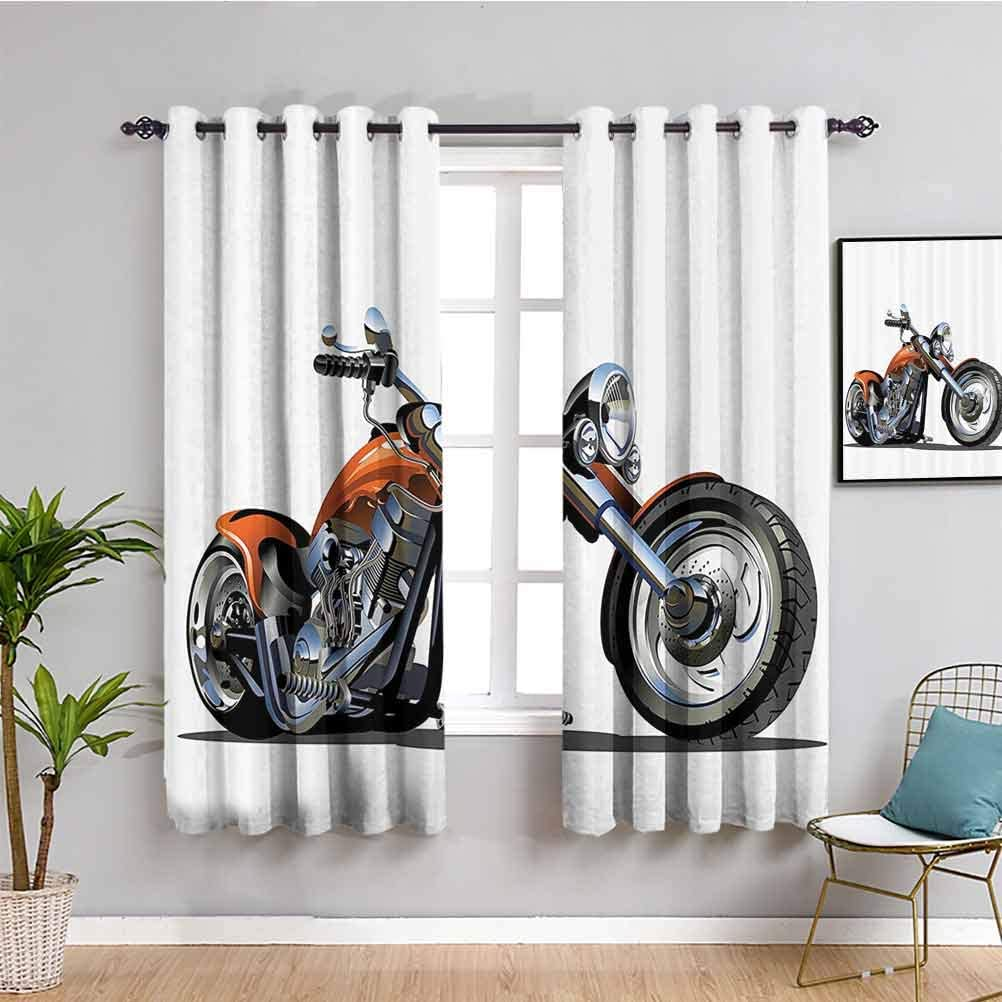 Motorcycle Decor Soundproof Max 85% OFF Curtains Motorbi Be super welcome Cartoon for Bedroom