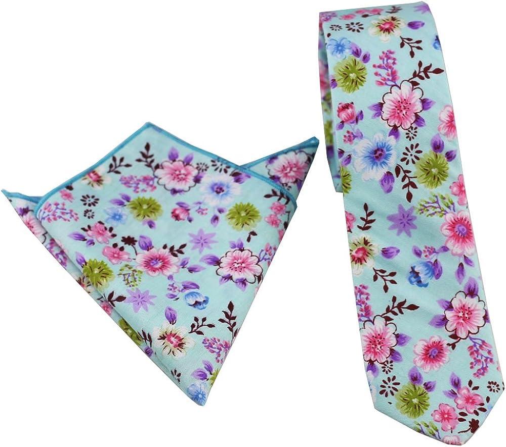 Coachella Ties Aqua Green Flowers Cotton Necktie Skinny Tie Pocket Square Bowtie
