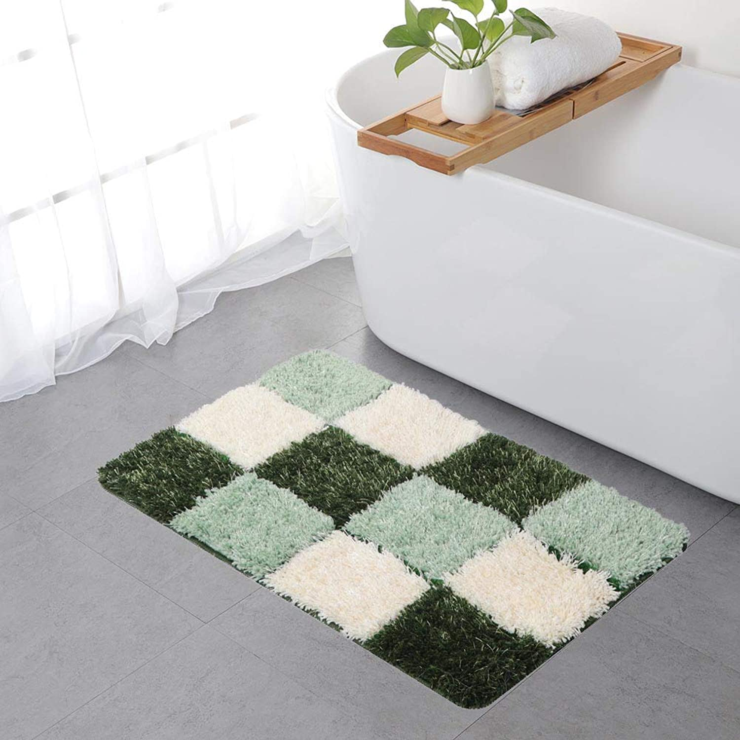 Mosaic Doormat Front Door Mat Indoor Outdoor Carpet Non-Slip Bathroom Rug Home Decoration 2' x 3' (Green)