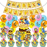 Party Themed Birthday Decorations,44 Pcs Winnie The Pooh Happy Birthday Cake Topper,Birthday Party Supplies Include Happy Birthday Banner Balloons Cake Topper,Winnie and Friends Decoration