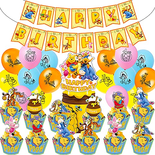 Ksopsdey Decorazione A Tema di Winnie The Pooh Set,44 PCS Feste Compleanno Winnie,Winnie The Pooh Palloncini Decorazione per Feste Compleanno Cartoon Pooh Forniture,carneval e Compleanni