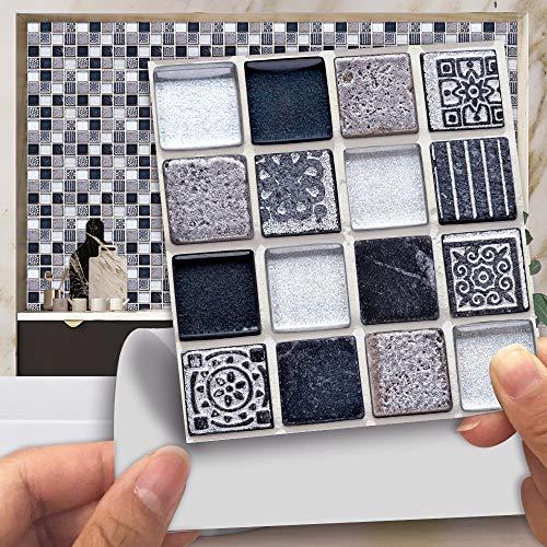 20 Piezas Autoadhesivas Para Azulejos De Pared, Papel Tapiz De Vinilo Para Despegar Y Pegar, Decoración De Baño Y Cocina, Antimoho (rojo Negro) 10 x 10 cm M-190