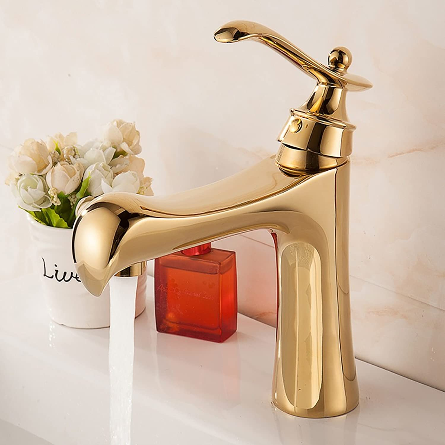 ZJM Basin Faucet Single Hole All Copper Single Handle Hot And Cold Water Mixer golden