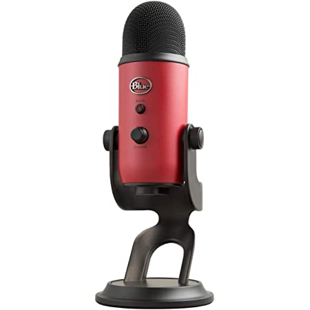 Blue Yeti USB Microphone for PC & Mac, Gaming, Podcast, Streaming and Recording Microphone, with Blue VO!CE Effects, Adjustable Stand, Plug and Play – Satin Red