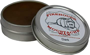FIREHOUSE MOUSTACHE WAX'S INCREDIBLE HOLD DARK WAX, 1 OUNCE TIN | TAME, TRAIN, STYLE AND CONTROL FACIAL HAIR ALL DAY IN ANY KIND OF WEATHER |HANDMADE IN SMALL BATCHES BY FIREMAN JOHN