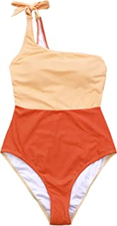 CUPSHE Women's Orange Crush One Shoulder Bowknot One-Piece Swimsuit