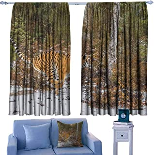 Safari Sliding Curtains Bengal Tiger in Snowy Jungle Hunting and Cruising for Prey Furry Majestic Mammal Set of Two Panels 63