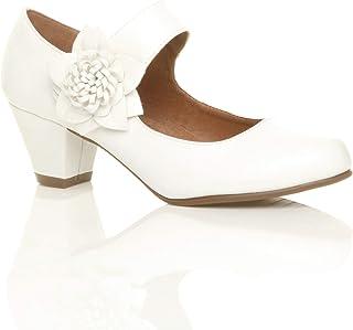 Femmes Talon Moyen Large Babies Cuir doublé Confort Escarpin Chaussure Pointure