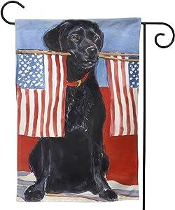 Labrador Dog Black American Flag Lab Seasonal Family Double Sided Garden Flag Outdoor Funny Decorative Flags for Garden Yard Lawn Decor Gift 12.5