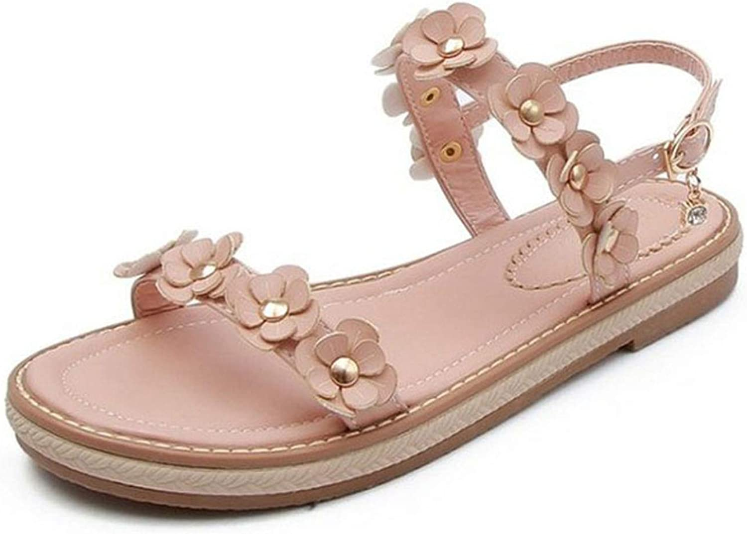 Fashion Women Bohemia Flower Flats Sandals Women Ankle Strap Sandals
