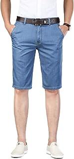 Pantalones Vaqueros Cortos de Cinco Puntos para Hombre, Pantalones Cortos de Talla Grande Informales de Color sólido ultra...