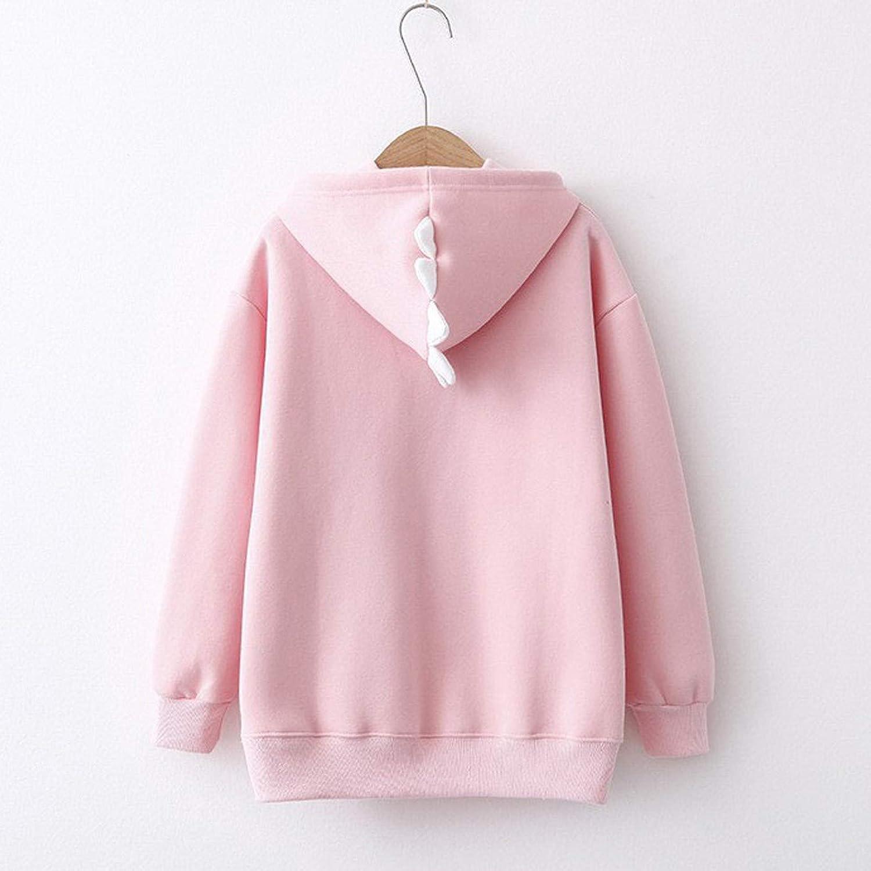 FABIURT Hoodies for Women Teen Girls Cute Dinasour Long Sleeve Hooded Sweatshirt Pullover Casual Color Block Hoodie Tops
