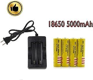 18650充電池3.7 V 5000 mAh(4本)と高速充電器、該当18650バッテリーはミニUSB扇風機、超強力LEDヘッドライト、ミニLED懐中電灯、自転車ライト、電子タバコに適用します