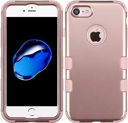 Funda Case para iPhone 7 Doble Protector de Uso Rudo Funda Anti Impactos Resistente a Caídas (Rose Gold)