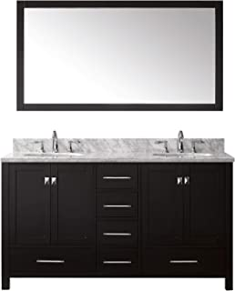 Virtu USA Caroline Avenue 60 inch Double Sink Bathroom Vanity Set in Espresso w/Round Undermount Sink, Italian Carrara White Marble Countertop, No Faucet, 1 Mirror - GD-50060-WMRO-ES
