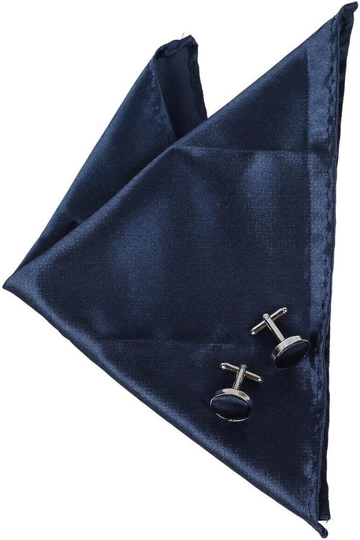 Dan Smith Men's Fashion Multi Plain Casual Microfiber Hankerchief Cufflinks Set With Box