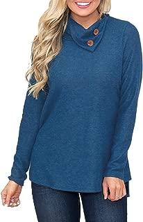 Women's Classic Fit Long Sleeve Button Neck Casual Loose Tunic Sweatshirt