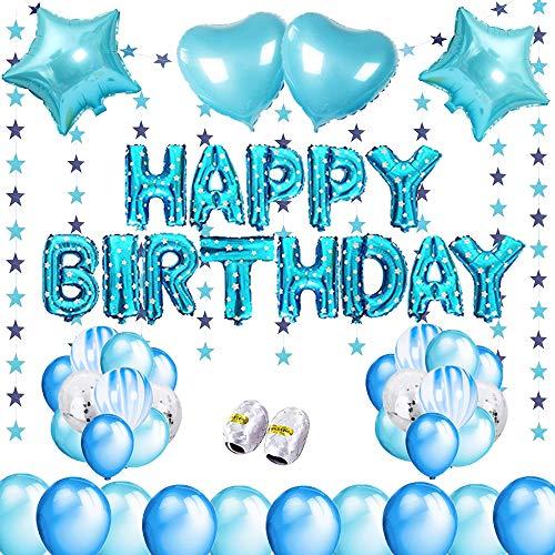 Decoración de cumpleaños para niños y niñas, decoración de cumpleaños para niños y niñas, color azul y oro rosa (azul)