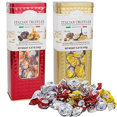 Fine Italian Truffles Milk Chocolate Candies Gift Set Tin 2 Pack | Dark Chocolate with Cocoa & Caramel Filling | Milk Hazelnut Crispy Cereals Filled | 15.87 Oz Each Signature Collection Tin