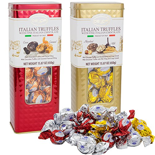 Fine Italian Truffles Milk Chocolate Candies Gift Set Tin 2 Pack | Dark Chocolate with Cocoa & Caramel Filling | Milk Hazelnut Crispy Cereals Filled | 15.87 Oz Each Signature Collection Tin (Holiday)