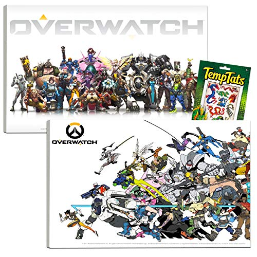 Overwatch Poster Set ~ Bundle Includes 2 Overwatch Mounted Prints (8'x11'x.2') and Bonus Temporary Tattoos (Overwatch Wall Art Room Decor Office Decorations)