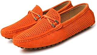 JietaodianziAU Men's Driving Loafers Breathable Perforation Genuine Leather Vamp,