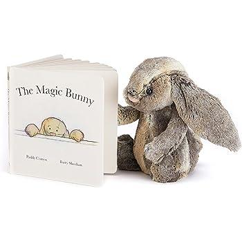 Jellycat Magic Bunny Board Book and Woodland Bunny, Medium - 12 inches