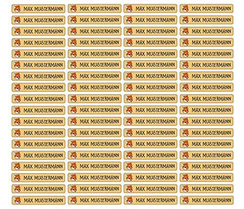Stifteaufkleber für Bleistifte, Kugelschreiber & weiteres Namensaufkleber Namen Sticker Aufkleber 49x7,5mm | 72 Stück Kinder & Erwachsene Schule & Kindergarten 37 Hintergründe Fuchs fox