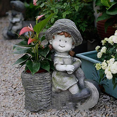 YSDHE Sculpture Garden Ornaments Child Riding Bicycle Fleshy Flower Pot Waterproof Magnesium Oxide Yard Lawn Landscape Decoration Gift - 34 * 19 * 39cm (Color: B)-A