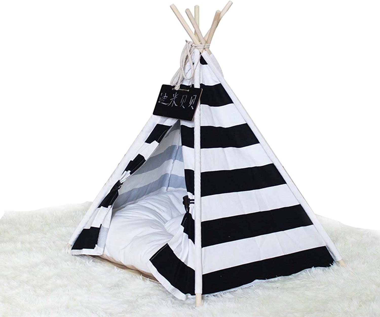 Black and white stripes Pet tent Medium, small and medium Cat doghouse Pet pad Pentagonal easy inssizetion Nonslip, S