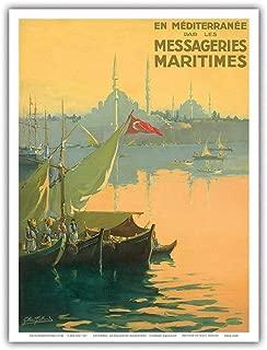 Turkey, The Mediterranean Maritimes Shipping Company - Bosphorus (Istanbul Strait) Turkey - Vintage Ocean Liner Travel Poster by Gilbert Galland c.1925 - Master Art Print - 9in x 12in