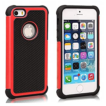 AGRIGLE Shock- Absorption/High Impact Resistant Hybrid Dual Layer Armor Defender Full Body Protective Cover Case Compatible with iPhone 5/5S/SE 2016   Black Red