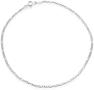 Simple Durable Cuban Link//Figaro//Twist Rope Chain Anklets for Beach Party with Gift Box ChicSilver 925 Sterling Silver Ankle Bracelet for Women