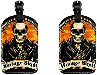 SkullLeather Luggage Tags Suitcase Labels Bag Travel ID Bag Tag, 1 Pcs