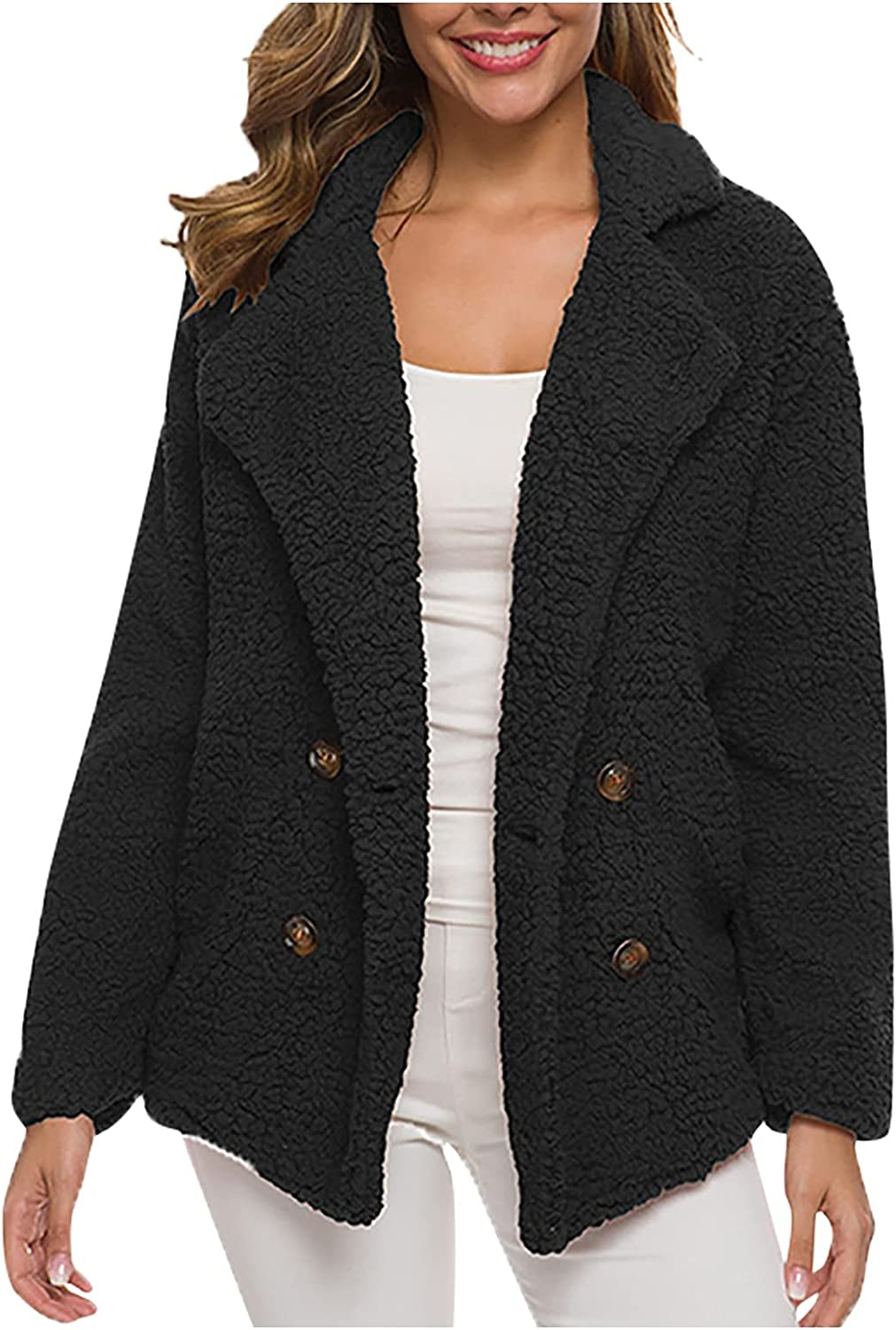 Winter Coat For Women Thickened Suit Collar Button Padded Lambswool Notch Lapel Jackets Warm Comfy Loose Open Front Cardigan