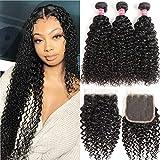 WENYU Hair Brazilian Virgin Curly Hair 3 Bundles with Lace Closure Free Part 100% Brazilian Kinky Curly Human Hair Bundles with 4x4 Lace Closure Natural Black (12 14 16+10Free Part)