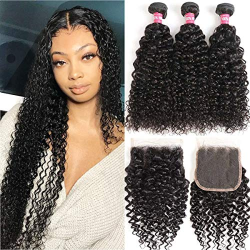 WENYU Brazilian Curly Human Hair 3 Bundles with Closure Kinky Curly Bundles with Closure 4x4 Lace Jerry Curl Hair Bundles with Closure Kinkys Curly Human Hair Weave Water Wave (10 12 14+10Free Part)