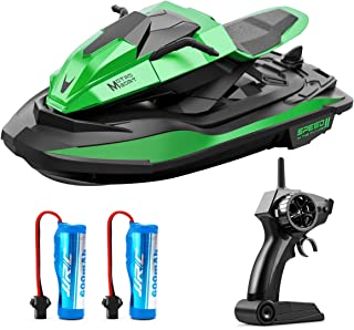 RC Motor Boat for Kids, JJRC S9 Remote Control Boats Motorcycle for Pool and Lake with 2.4GHz Motor Speedboat, Double Power, Low Battery Reminder, Speed Boat RC Toy for Kids or Adults (Green)