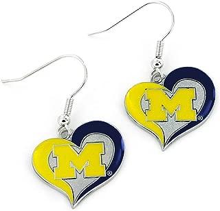 NCAA Michigan Wolverines Swirl Heart Earrings
