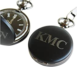 Personalized Engraved Black Quartz Pocket Watch with Chain - Groomsmen Wedding Party Gifts