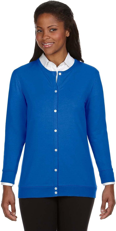 D & Jones Women's DEJN-DP181W Perfect Fit Ribbon Cardigan, French Blue, 3XL