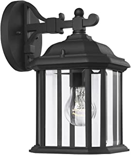 Sea Gull Lighting 84029-12 Kent One-Light Outdoor Wall Lantern with Clear Beveled Glass Panels, Black Finish
