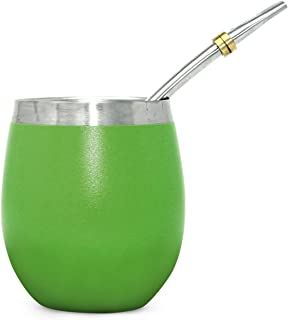Novomates [NEW] Yerba Mate Gourd 8oz (237ml) - Best Yerba Mate Set - Double Wall Stainless Steel Yerba Mate Cup With Stainless Steel Mate Bombilla Straw (Green)