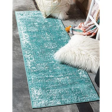 Unique Loom Sofia Collection Traditional Vintage Turquoise Runner Rug (2' x 10')