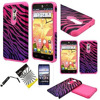 For ZTE ZMAX Pro Z981 / ZTE Carry/ITUFFY 3items  LCD Protector Film+Stylus Pen+Dual Layer [Shock Absorbant] [Slim Fit] Hybrid Armor Case  Pink Purple Zebra