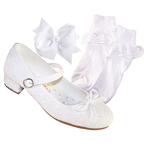 c125733b917 The Sparkle Club Girls White Low Heeled Sparkly Bridesmaid Flower Girl  Special Occasion Shoes with White