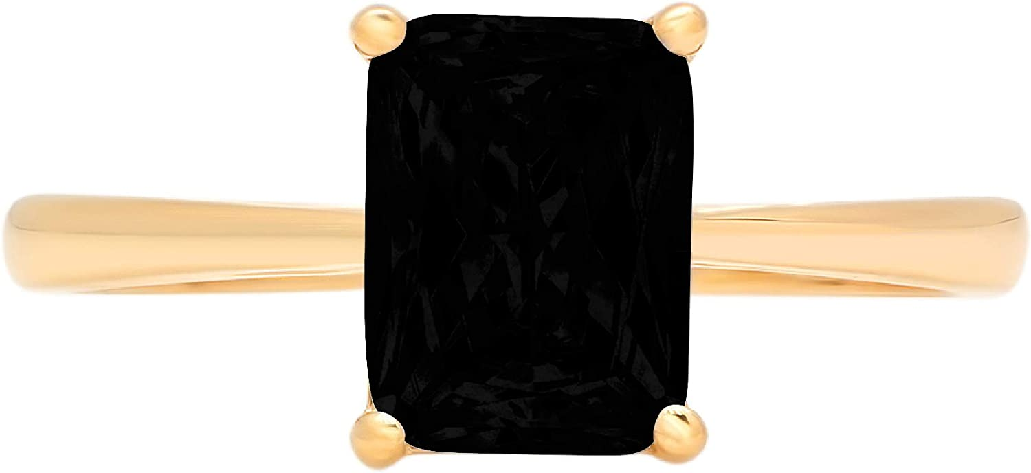 1.95ct Brilliant Emerald Cut Solitaire Flawless Genuine Natural Black Onyx Ideal VVS1 4-Prong Classic Statement Designer Ring Solid 14k Yellow Gold for Women