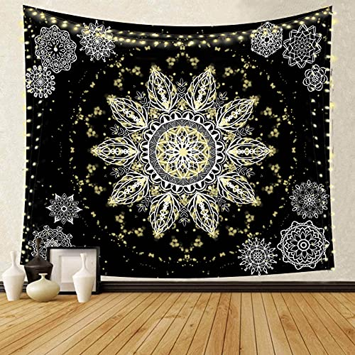 Mei T Mandala Tapestry Wall Hanging Psychedelic Celestial Hippie Tapestry Colorful Starry Sky Mandala Floral Tapestry Boho Meditation Tapestry Picnic Black gold for Bedroom Aesthetic 79 X 59 In