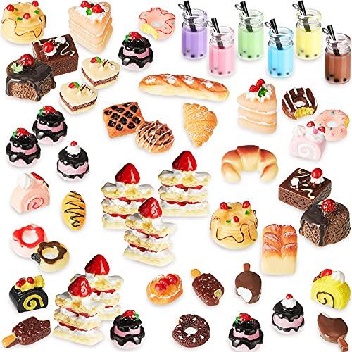 50 Alimentos en Miniatura de Juguete de Casa Muñecas Mini Alimentos Bebidas Escala 1:12 Juguetes Comida Cocina Accesorios Cocina en Miniatura Set de Comida y Vajilla (Serie Fresca)